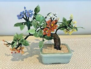 Vintage Chinese Bonsai Tree Jade Coral Muliticolor Glass Flowers Bonsai Ebay
