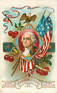 Postcard-George-Washington-Born-and-Died-Date-Embossed-Posted-1912
