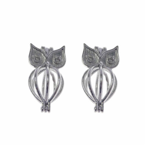 Pack of 4 Silver Tone Metal Owl Design Pearl Cage DIY Pendants Charms 21x11mm