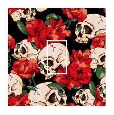 Novelty Tattoo Skull & Red Roses Light Switch Vinyl Sticker Cover Skin Decal