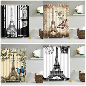 Shower-Curtain-With-12-Hooks-Pretty-Eiffel-Tower-Fabric-Waterproof-Bathroom