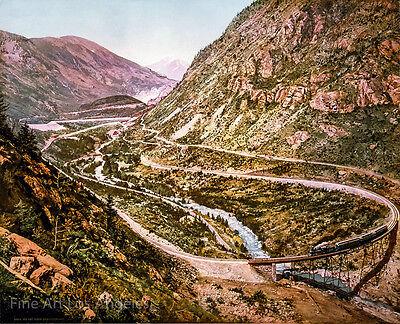 William Henry Jackson Photo, Loop, Colorado Central Railroad, chromograph 1899