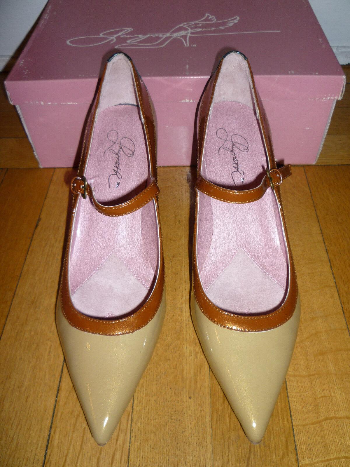 NIB  GWYNETH  Lana  Patent Leather Tan Bronze grau Farbeblock Heels, 11M