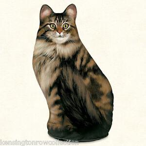 DOOR STOPS - TABBY CAT DOOR STOP - LONG HAIRED TABBY CAT DOORSTOP
