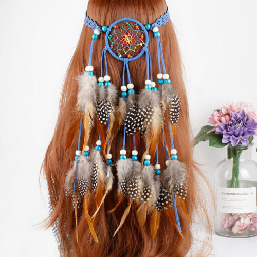 Boho Indian Feather Headband Dream Catcher Hair Band Beads Carnival Hippy Party