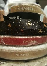 Mix LOT CHANEL Sampler 180 inches 5 yard RIBBON RED GOLD BLACK WHITE AUTHENTIC