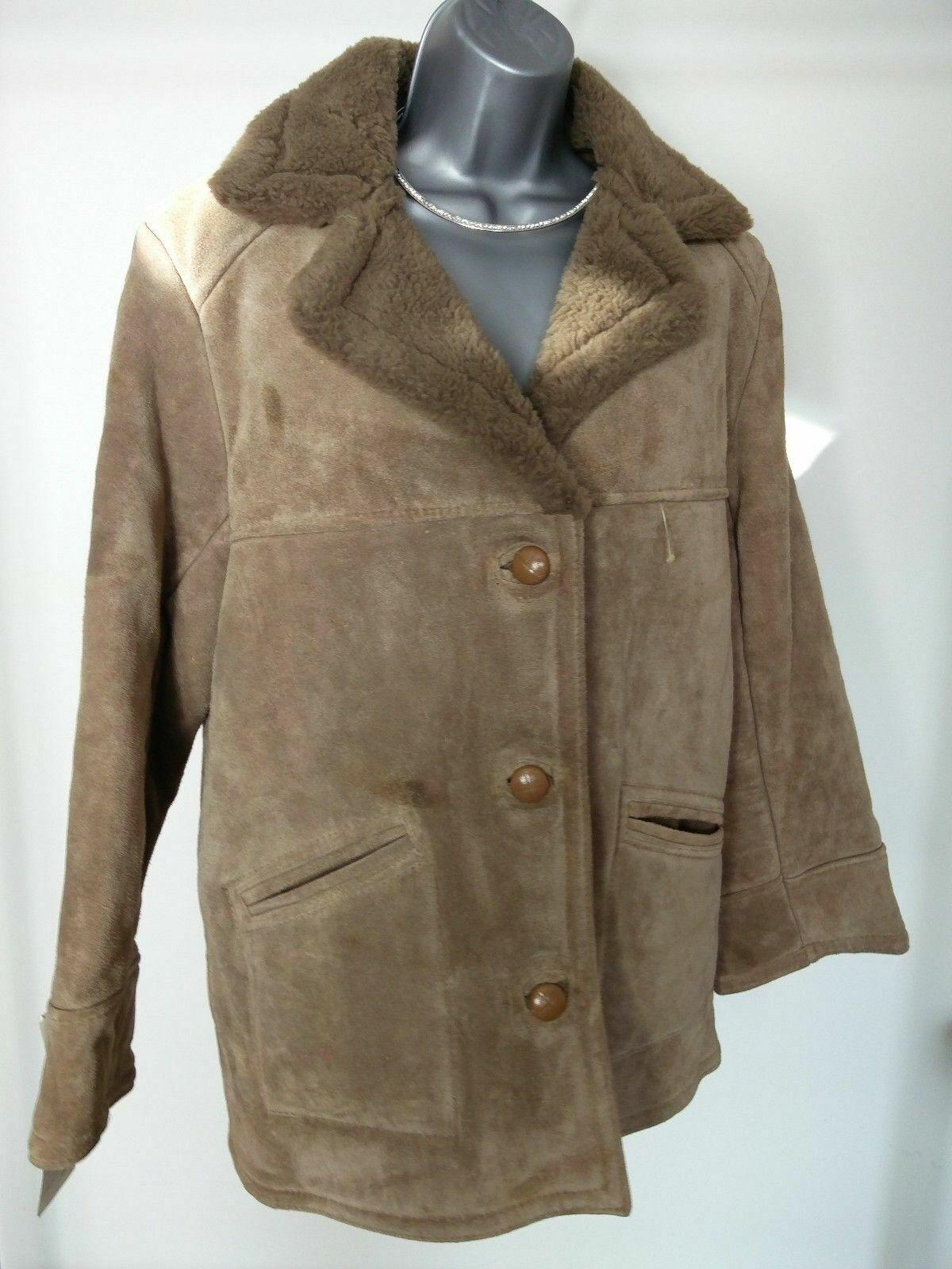 Femme Vintage Oaklands Marron Peau De Mouton Daim Manteau Tailles UK 16 42