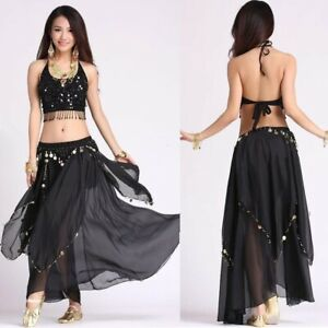 Hand made Belly Dance wear outfit Top and Skirt Carnival Fancy full skirt dress