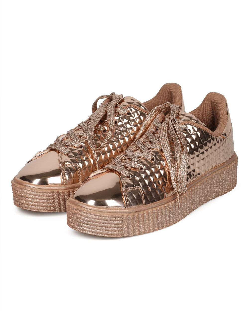 New Women Qupid Paisley-01 Embossed PU Pyramid Stud Lace Up Creeper Sneaker