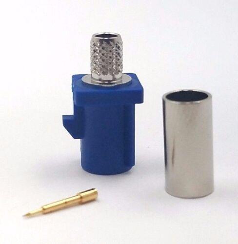 10pcs Fakra Straight Plug Crimp RG58 Key Code C Blue GPS Telematics Navigation