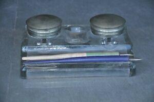 Vintage-Bicchiere-Unico-Forma-2-in-1-Calamaio-con-2-in-Legno-Penna-Titolari