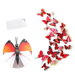12pc Rosso Farfalla Wall Stickers/magnete, 3D ARTE Decalcomanie Decorazioni Home Decor