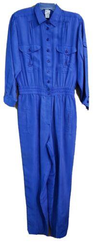 VTG 80s Sandwash Silk By Bianca Blue Jumpsuit 100%