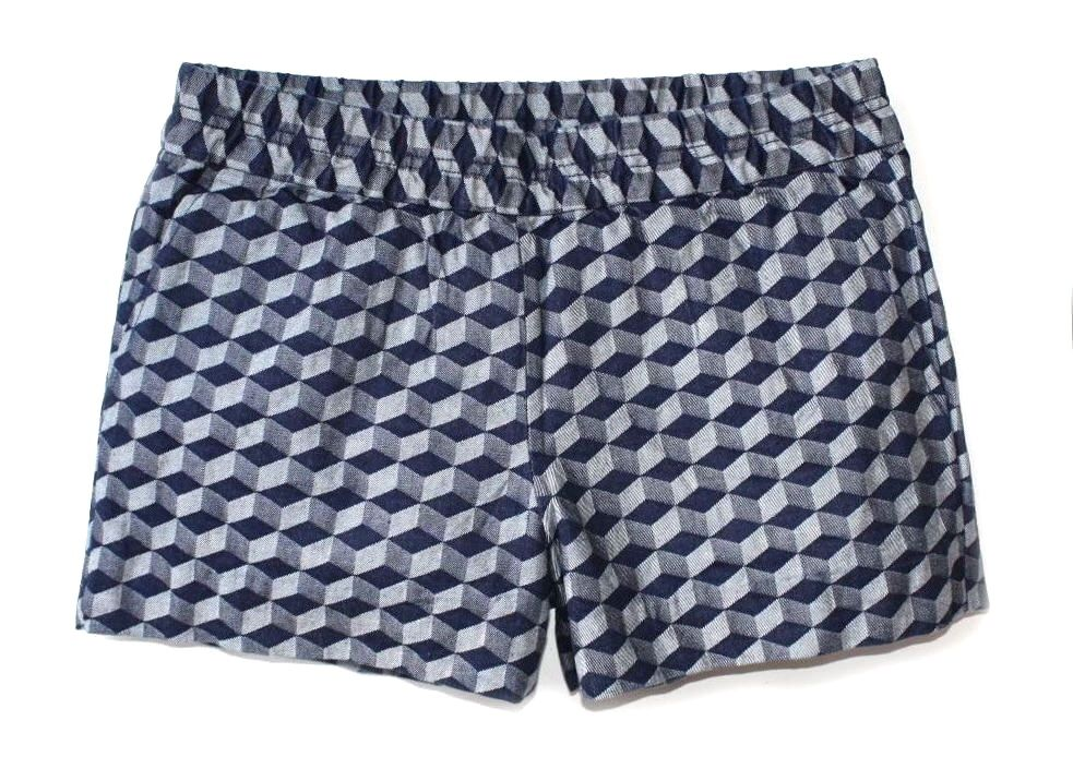 J.Crew Factory Womens 10 - NWT Navy Gem Geo Linen Blend Boardwalk Pull-On Shorts
