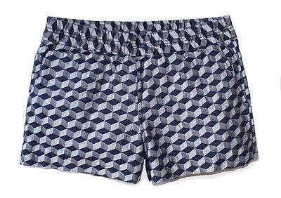 NWT Navy Gem Geo Linen Blend Boardwalk Pull-On Shorts J.Crew Factory Women/'s 4