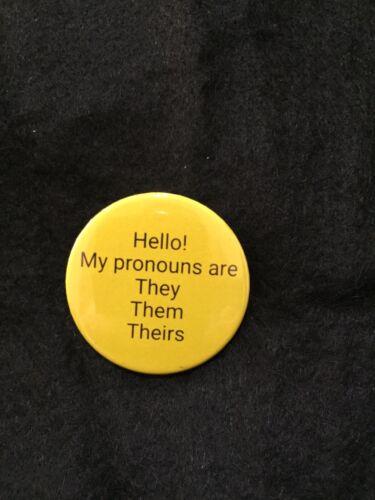 They Them Pronoun Badge 38mm Yellow Background