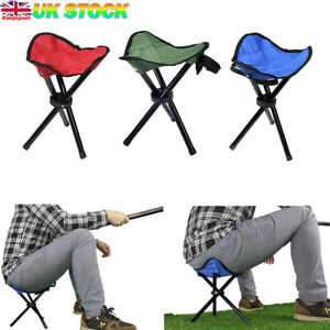Camping Chairs Folding Camping Lightweight BBQ Triangle Stool Fishing Outdoor UK