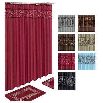 Solid Embroidered 15 Pcs Bathroom Shower Curtain Hook Bath Rug Contour Mat Set