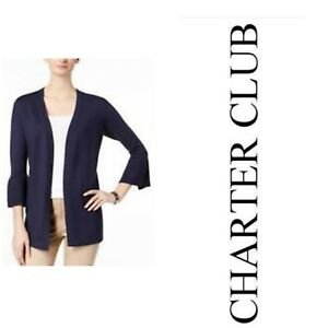 Charter-Club-Womens-Blazer-Jacket-Intrepid-Blue-Long-L