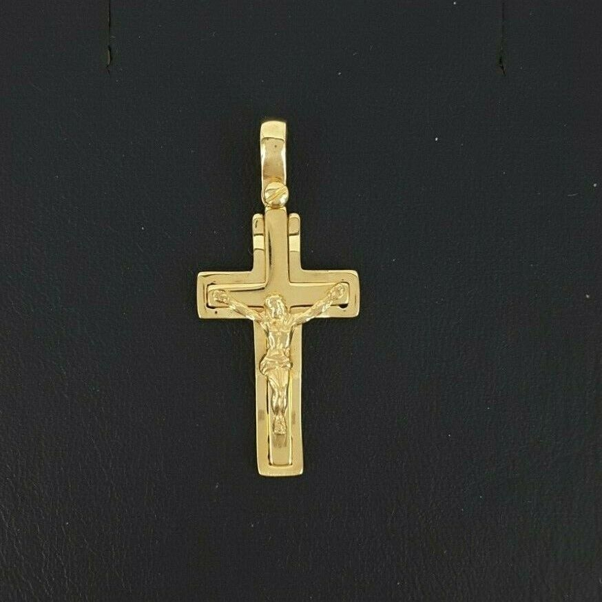 Miran 081258 18k Yellow gold 25mm Solid Flat Crucifix Pendant 3.2g RRP 760