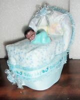 Diaper Bassinet Baby Shower Mommy To Be Gift Centerpiece Topper Cake Boy Or Girl