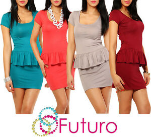 Women-Classic-Peplum-Dress-with-Basque-Tunic-Style-Scoop-Neck-Size-8-12-8403