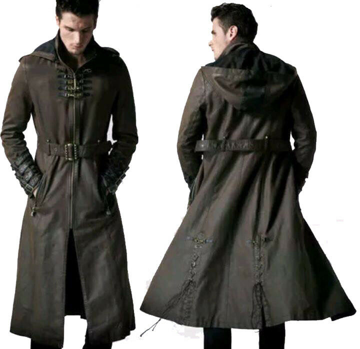NEW Herren HOODED STEAMPUNK GOTHIC STYLE MILITARY REAL LEATHER TRENCH COAT