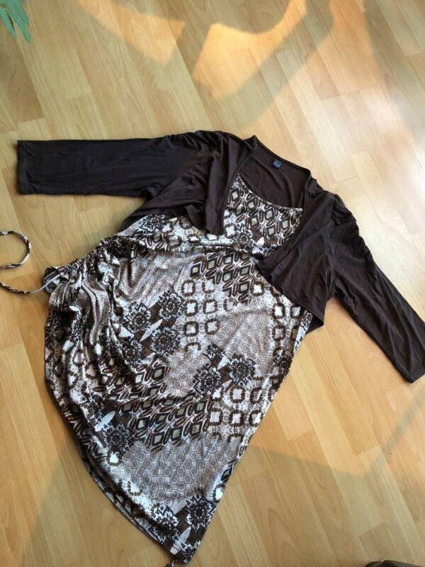 Kleid Shirtkleid Stiefelkleid M&s Braun Gr 44 46 48 Doppeloptik Seitlich Raffen