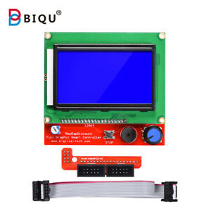 AITRIP 3D Printer Reprap Smart Controller 12864 LCD Display with Smart Controller Board for 3D Printer RAMPS 1.4 Reprap Mendel Prusa for Arduino 128x64 LCD Blue Color