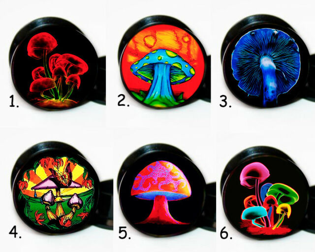 Select 1 pair Mushroom Designs ear gauges tunnel screw backs plugs