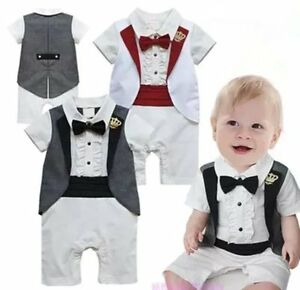 8fdc4aef4 Image is loading Baby-Boy-Wedding-Christening-White-Tuxedo-Suit-Outfit-