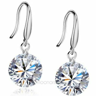 New Fashion Women Silver Swarovski Crystal Rhinestone Stud Earrings Hoop Jewelry