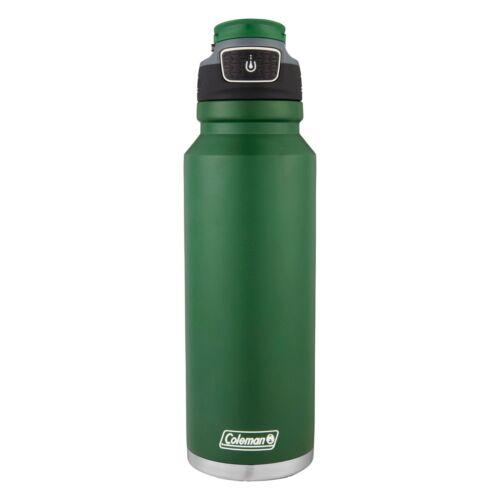 Coleman FreeFlow Autoseal Water Bottle 40oz Heritage Green Stainless Steel Sport