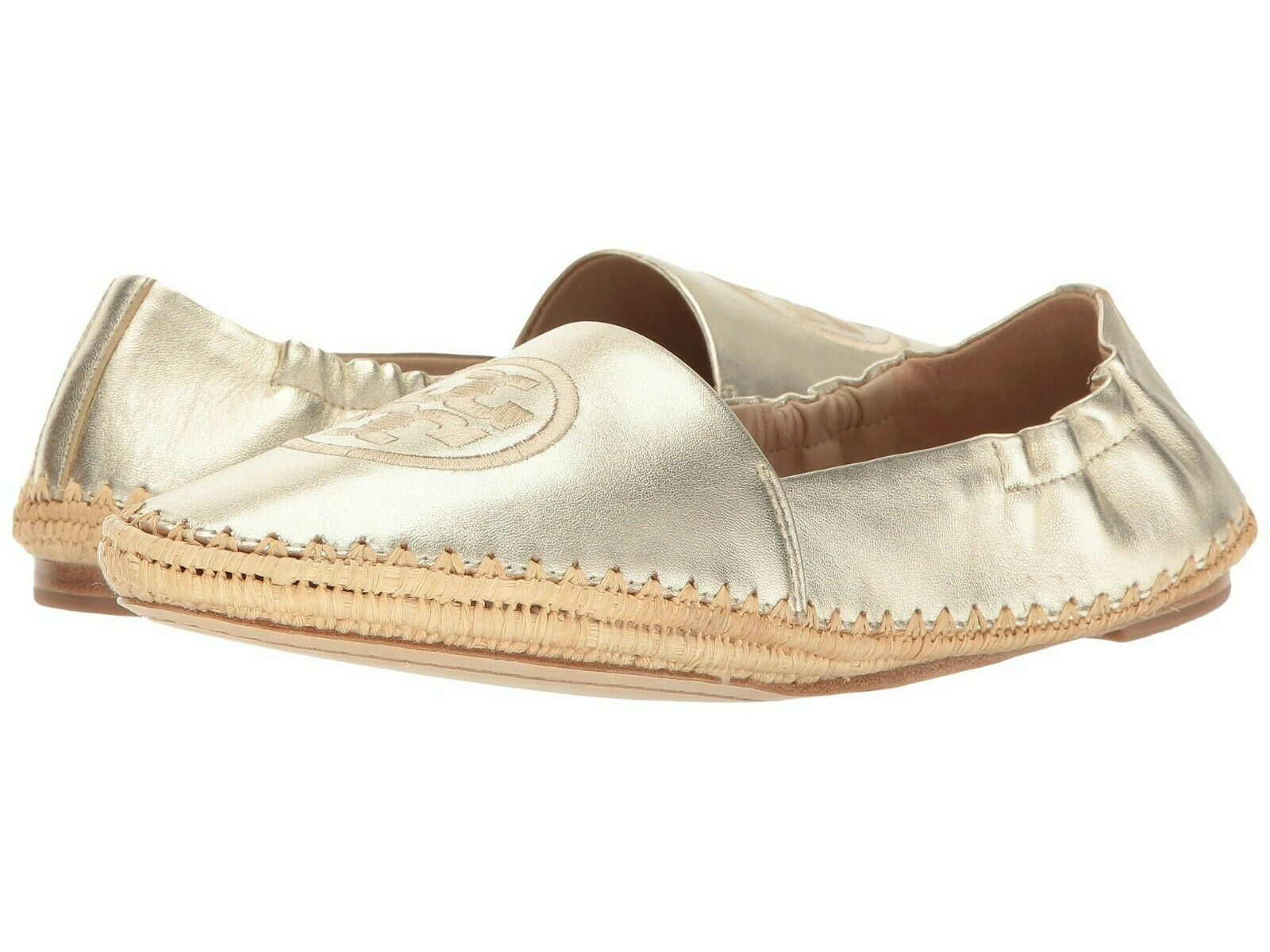 NIB    225 Tory Burch gold Darien Loafer Metallic Espadrille shoes Flats Size 9.5 0ee0bf