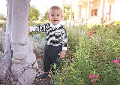 Baby Boy Dressy Holiday Long Sleeve Black & White Dress Shirt Jumpsuit - 3-12mth