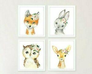 Woodland Animales Vivero Impresión Floral Rosa Conejo Ciervo Fox Búho Conjunto de 4 621-A