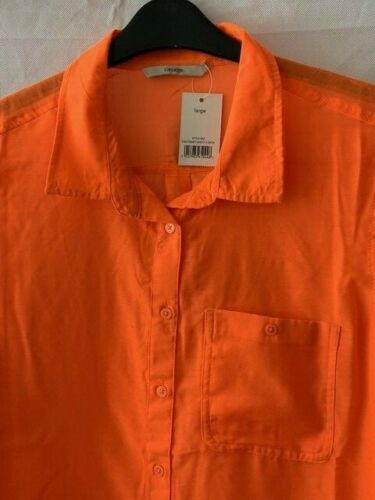 Neuf George Fluo Lumineux Orange Semi-sheer Chemise Robe Cover Up Taille L