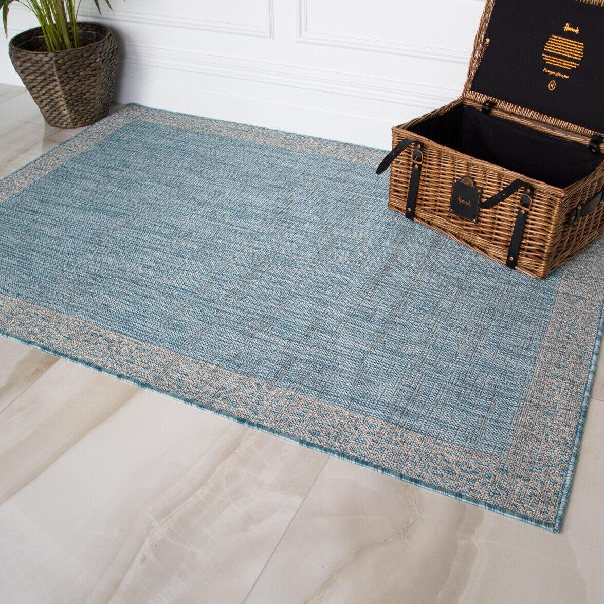 Tradizionale Blu Flatweave Rugs Pet Friendly Lavabile Indoor OUTDOOR Tappeto Area
