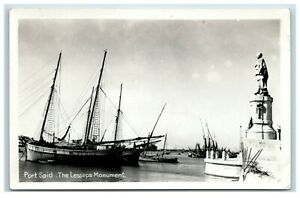 Picture-Postcard-Port-Said-Egypt-The-Lesseps-Monument