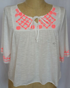 Aeropostale-Womens-Size-Medium-Top-Shirt-White-Burnout-Coral-Peasant-Boho-NWT