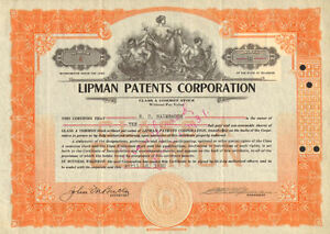 Lipman-Patents-Corporation-gt-1930-stock-certificate-share-scripophily