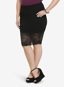 435e70540a5 Torrid Ponte Knit Pencil Skirt with Sheer Lace Bottom Edge sz 1