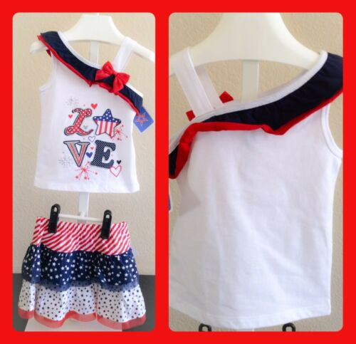 Walmart Brand Girls Skirt and Top NWT color Red,White and Blue