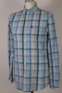 JACK-WILLS-Mens-Blue-Checked-Long-Sleeved-SHIRT-Size-Small-S
