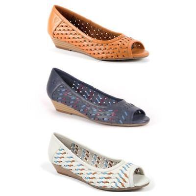 Moshulu Tarragon Ladies Womens Wedges Heels Open Toe Sandals Court Shoes Leather | eBay