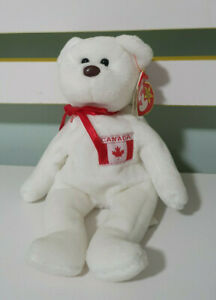 TY-BEANIE-KID-MAPLE-CANADA-BEAR-RED-AND-WHITE