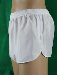 Sprinter-Glanzshorts-Unterhose-kurze-Sporthose-Shorts-Badehose-weiss-Gr-6-L-Neu