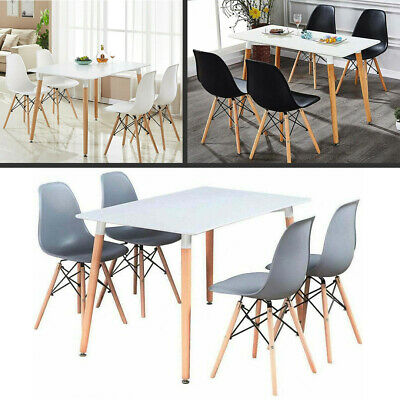 Dining Table And Chair Set White 4 X Wooden Dining Chairs White Dining Table Ebay