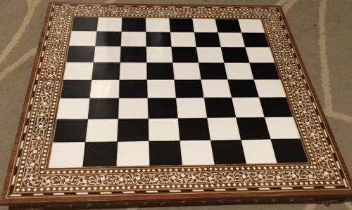 30 Inches 76cm Large Handmade Indian White Inlaid Folding Chess 32 Pieces