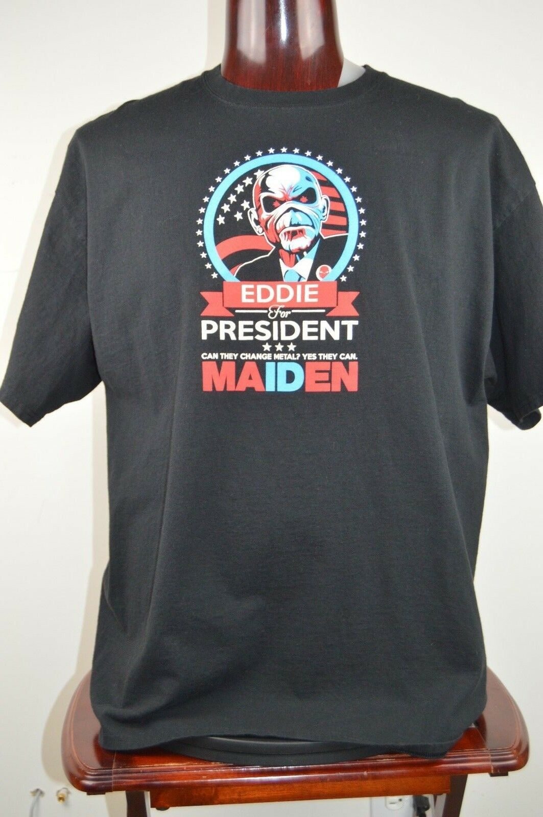 Iron Maiden Eddie For President Mens 2XL Black Graphic